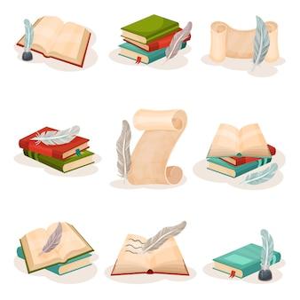 Penna d'oca d'annata, libri e rotoli di carta, simboli di retro scrittura, illustrazione di concetto di scienza e conoscenza su un fondo bianco
