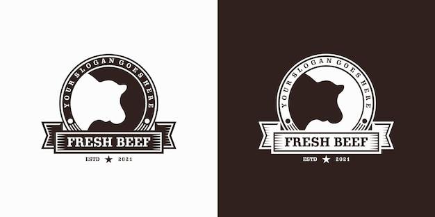 Ispirazione logo ranch vintage, agricoltura, manzo, barbecue.