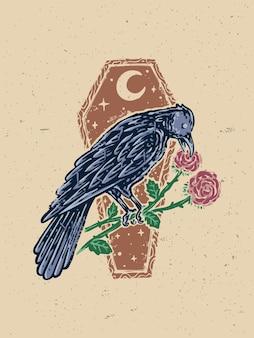 Vintage raven crow illustrazione