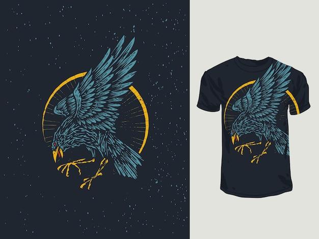 Illustrazione disegnata a mano del corvo dell'annata