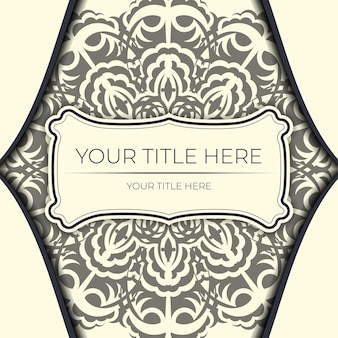 Cartoline vintage ready in color crema chiaro con motivi astratti. modello per biglietto d'invito di stampa design con ornamento mandala.