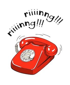 Illustrazione disegnata a mano del telefono rosso d'annata. stile schizzo