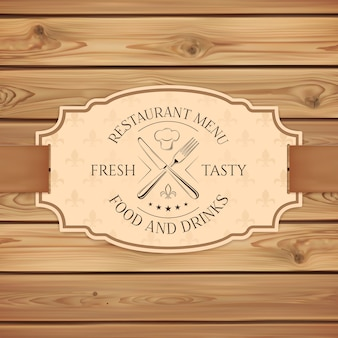 Modello di scheda del menu ristorante, bar o fast food vintage. banner con nastro su assi di legno.