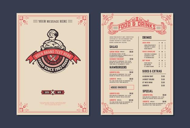 Modello di menu ristorante vintage.