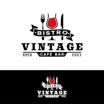 Ispirazione per il logo della forchetta del coltello del bicchiere da vino del ristorante vintage
