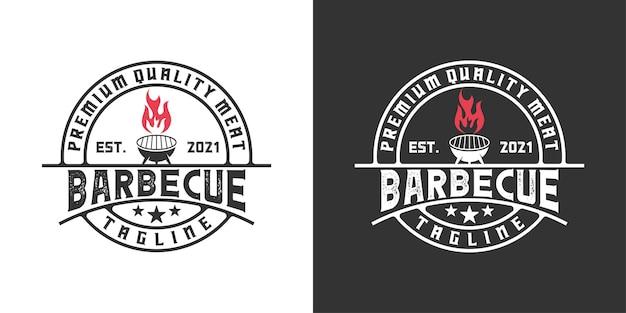 Barbecue vintage retrò, ristorante con ispirazione per il design del logo della fiamma
