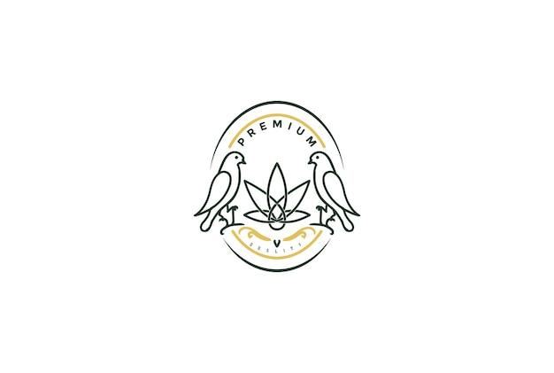 Vintage retro bird con cannabis marijuana ganja leaf per cbd oil extract logo design vector