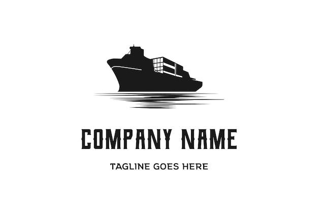 Vintage retrò nave da carico nave trasporto logo design vector