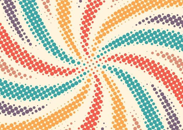 Vintage retrò colorato con sfondo punti mezzetinte, disegno astratto sfondo mezzitoni retrò