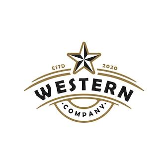 Vintage retro country west texas emblem logo design