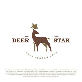 Logo vintage retrò dei cervi cervo con corno a stella vettoriale premium