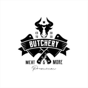 Emblema vintage retrò, distintivo, etichetta macelleria logo design vettoriale con testa di toro e icona di coltello