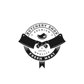 Emblema vintage retrò, distintivo, etichetta, logo macelleria adesivo con coltello e icona di carne