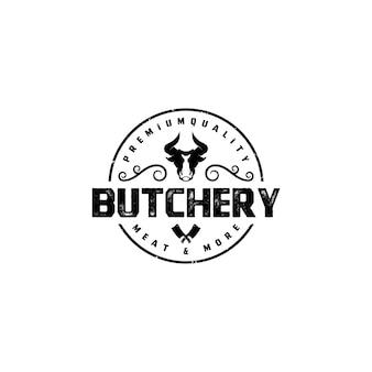 Vintage retrò emblema distintivo adesivo macelleria logo design vector