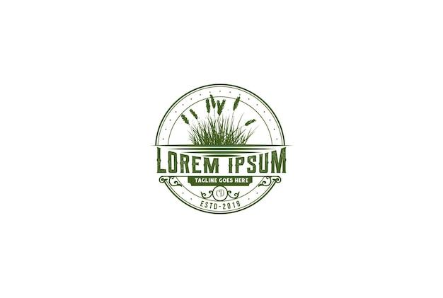 Vintage retro green cattail reed grass badge emblem label logo design vector