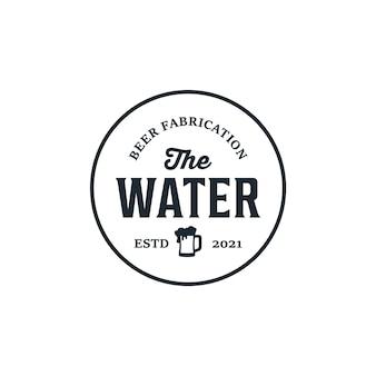 Ispirazione per il design del logo di fabbricazione di birra d'acqua retrò vintage retrò