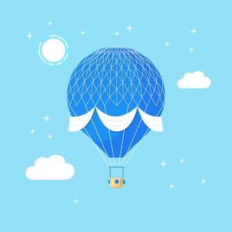 Aerostato di aria calda retrò vintage con cesto in cielo isolato su sfondo.