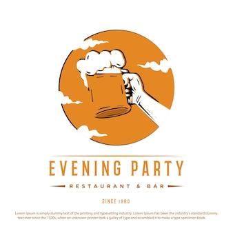 Design vintage logo retrò per birra ristorante o bar illustrazione vettoriale festa serale