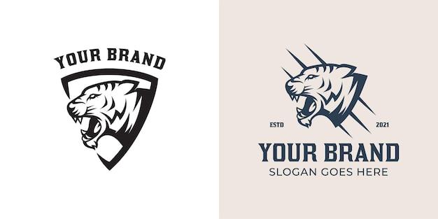 Logo vintage retrò di scudo con collezione logo testa di tigre