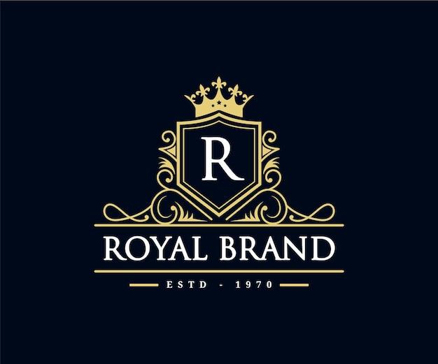 Logo araldico dell'emblema calligrafico vittoriano di lusso retrò vintage con corona e cornice ornamentale