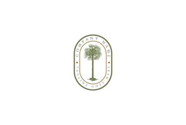 Vintage retro palm coconut tree etichetta badge emblem sticker logo design vector