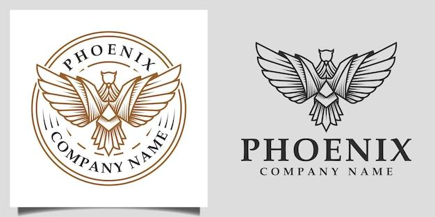 Vintage retrò fenice, aquila, ali di falco simbolo vettore lineare silhouette logo illustrazione vettoriale design