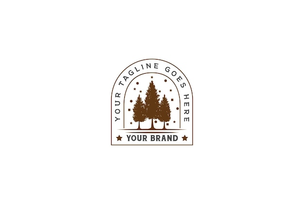 Vintage retrò pino abete cedro sempreverde larice abete conifere foresta per buon natale logo design vector
