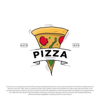 Modello di logo vintage retrò pizza illustrazione vettoriale di design pizza disegnata a mano