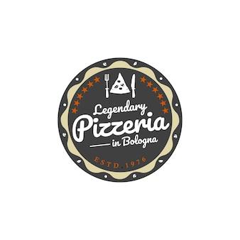 Vintage retro pizza pizzeria ristorante etichetta distintivo dell'emblema logo design