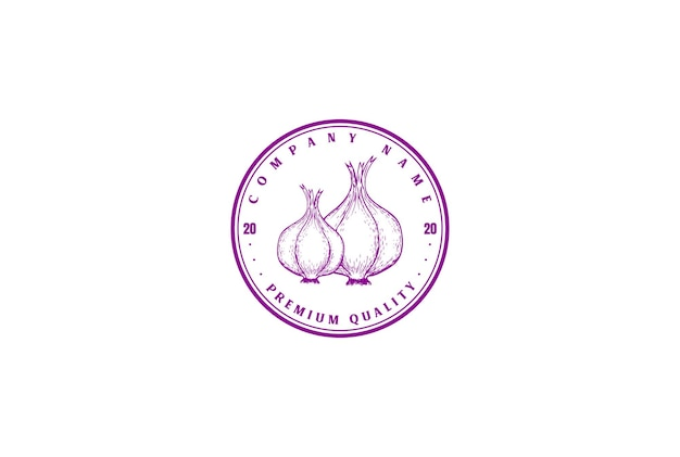 Vintage retrò cipolla rossa distintivo emblema logo design vector
