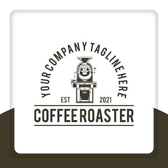 Vintage retro rustic macchina per la torrefazione del caffè elettrico distintivo logo design vettoriale per ristorante Vettore Premium
