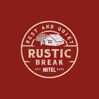 Logo dell'hotel rustico retrò vintage o per un timbro affidabile dell'hotel