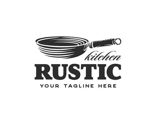 Vintage retrò rustico padella in ghisa per cibo tradizionale piatto cucina classica cucina logo design