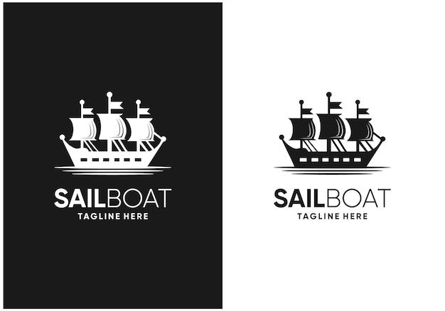Design del logo della barca a vela retrò vintage