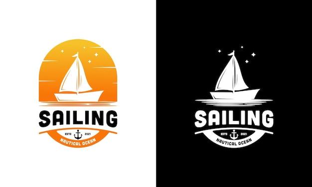 Ispirazione per il modello di progettazione del logo della barca a vela retrò vintage