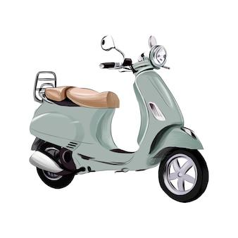 Scooter retrò vintage da vernici multicolori disegno colorato realistico