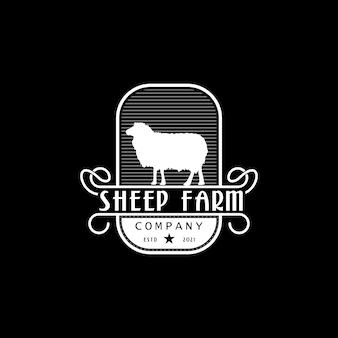 Logo vintage retrò di allevamento di pecore o capre