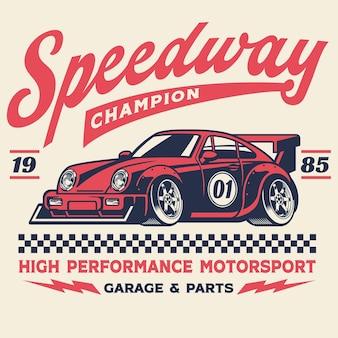 Maglietta vintage retrò di un'auto da corsa