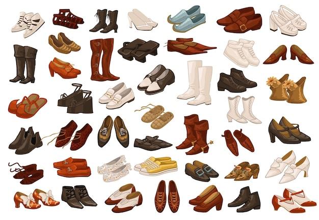 Scarpe vintage e retrò per uomo e donna, paia di calzature isolate per signore e signori. stivali per l'inverno e l'autunno, design, abbigliamento e outfit giapponesi e indiani. vettore in stile piatto
