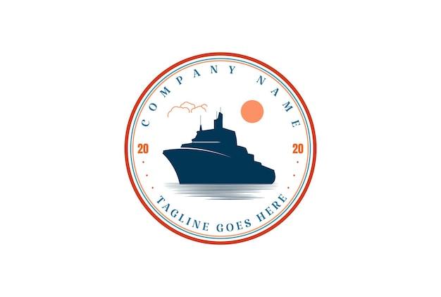 Vintage retrò nave cisterna nave da carico distintivo emblema logo design vector