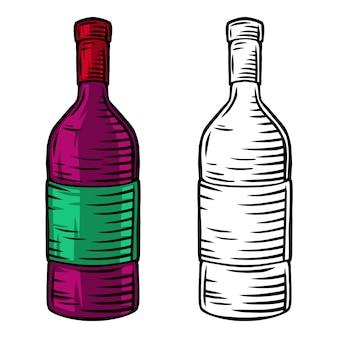 Illustrazione di vettore isolata retro bottiglia di vino d'annata