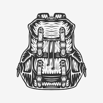 Borsa zaino da campeggio vintage retrò xilografia da campeggio può essere utilizzata come etichetta con logo emblema!