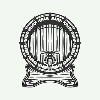 Vintage retrò xilografia incisione barile di legno di birra