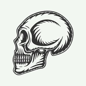 Teschio vintage retrò xilografia dalla vista laterale può essere utilizzato come marchio di etichetta con logo emblema