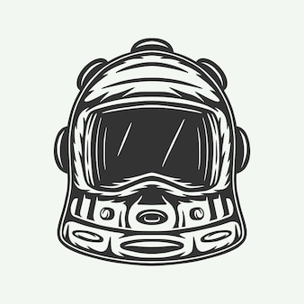 Casco da astronauta spaziale vintage retrò xilografia può essere utilizzato come marchio di etichetta con logo distintivo emblema