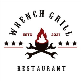 Vintage retro wrench bbq grill barbecue barbeque logo design vector
