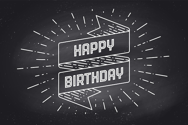 Banner di nastro vintage e disegno in stile incisione con testo happy birthday. elemento di design disegnato a mano. tipografia di buon compleanno per biglietto di auguri, banner e poster.