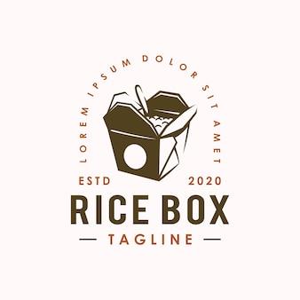 Modello di progettazione di logo di scatola di riso vintage