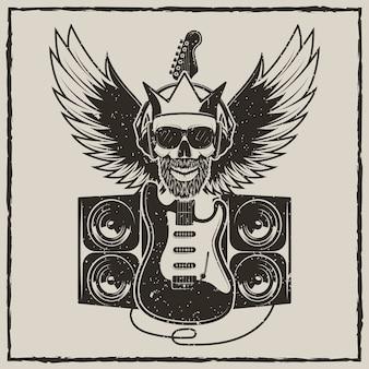 Illustrazione d'annata di lerciume di vettore del rock star