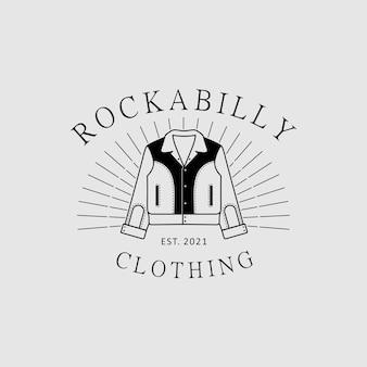Logo vintage della giacca rockabilly per l'ispirazione del design del negozio di abbigliamento